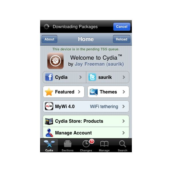 Cydia app for iPhone