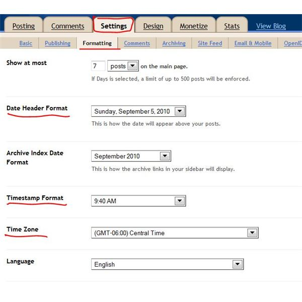 Post date and time blog publish Blogger set time zone