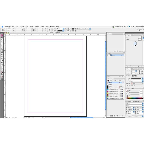 InDesign palettes and blank document
