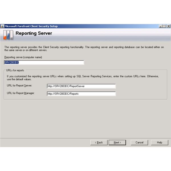 Forefront Client Security Installation Wizard - Reporting Server