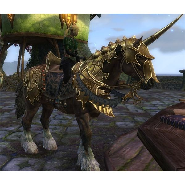 Swift Gold Armored War Horse Image