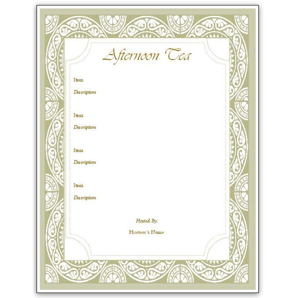 Hostess Afternoon Tea Menu Template
