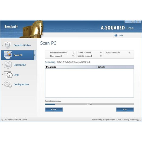 Scanning with Emsisoft's A-Squared software