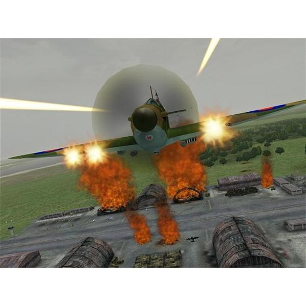 A spitfire laying down some heavy fire