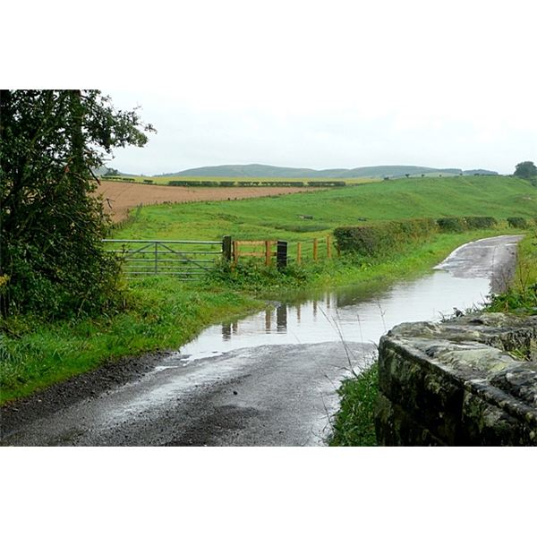 Flooded lane near Powburn - geograph.org.uk - 1507894