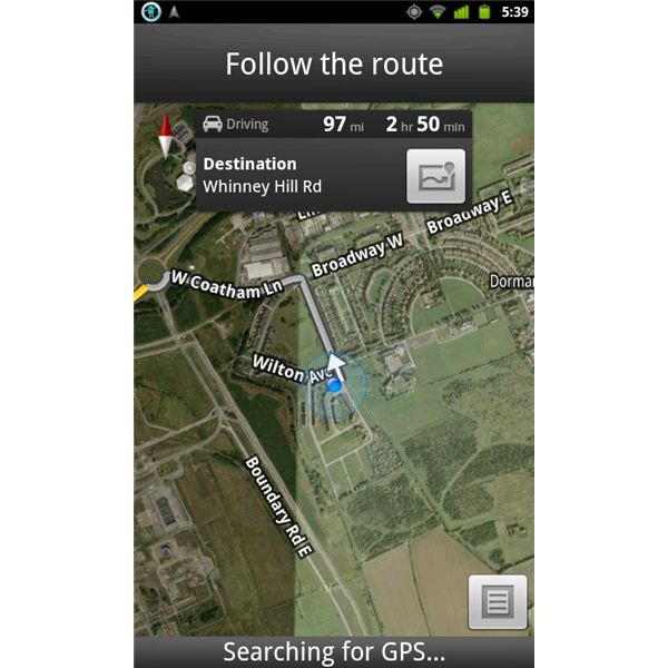 Following the route - Google Maps 5.5