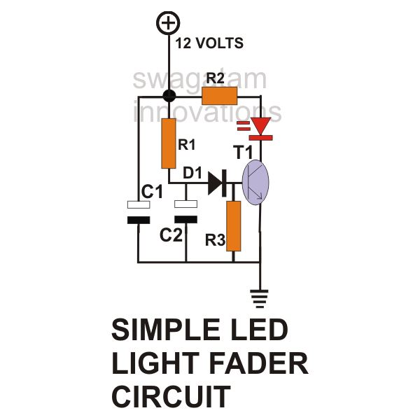 Simple LED Light Fader Circuit Diagram, Image