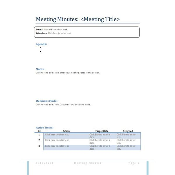 Meeting Minutes Sample Template  Meeting Minutes Format Template