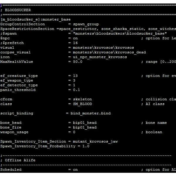An example of a typical S.T.A.L.K.E.R. data file as viewed with Notepad++.