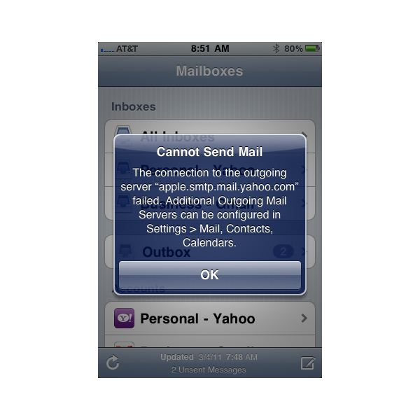 iPhone won't send email