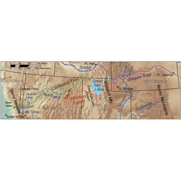 The Donner Party Route Map