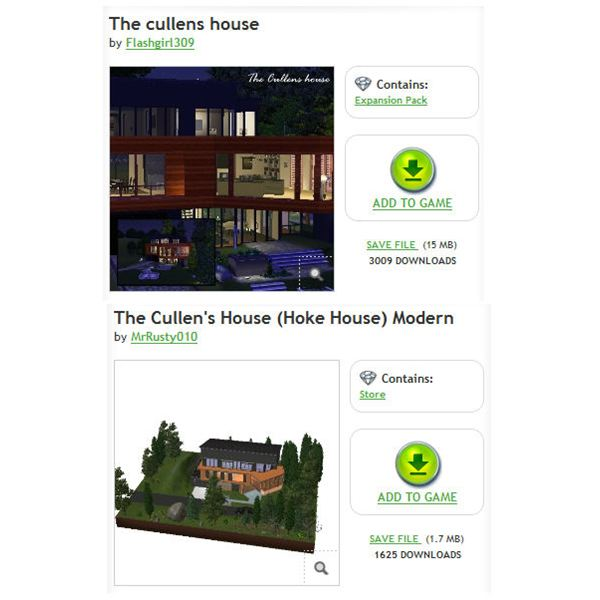 The Sims 3 Cullen House Downloads