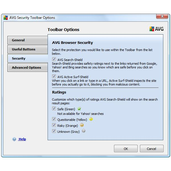 Settings for Toolbar - Security