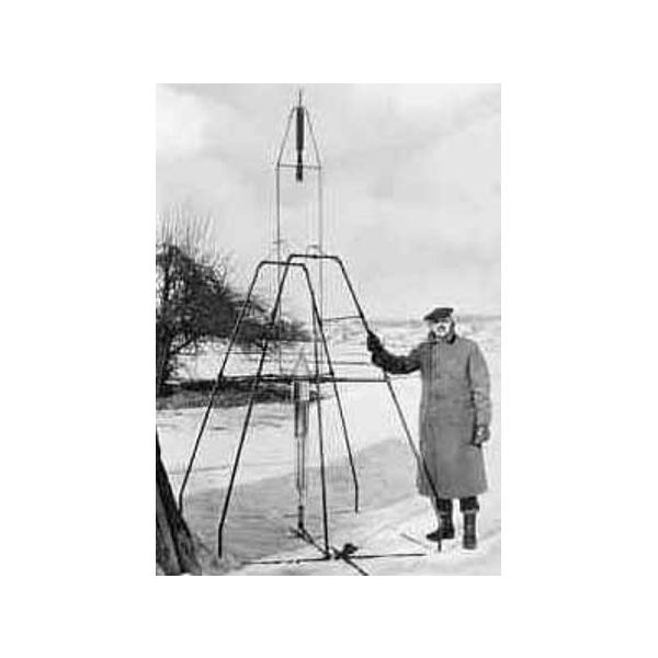 Goddards first liquid fueled rocket.