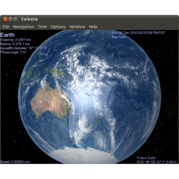Celestia's default screen, showing a representation of the planet Earth.