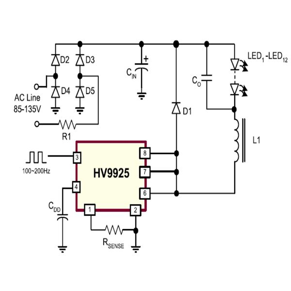 130 Volts Programmable PWM Controlled LED Dimmer Circuit Diagram, Image