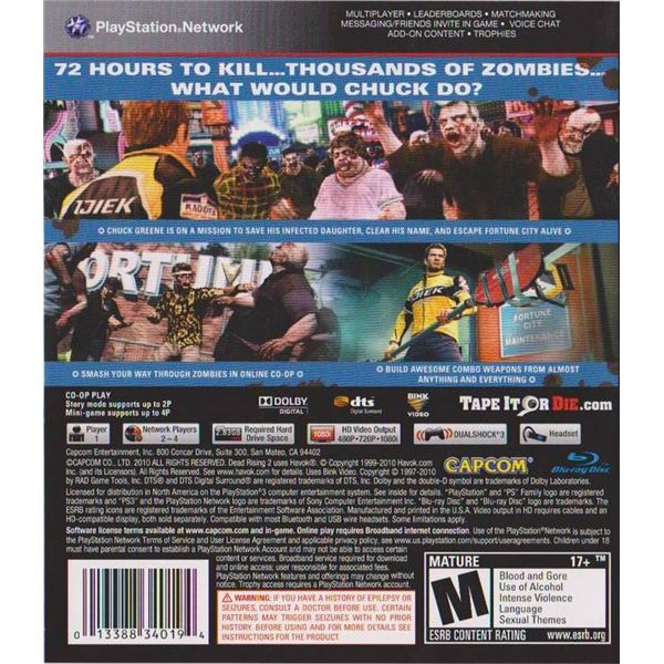 Dead Rising 2 Ps3 Back Cover