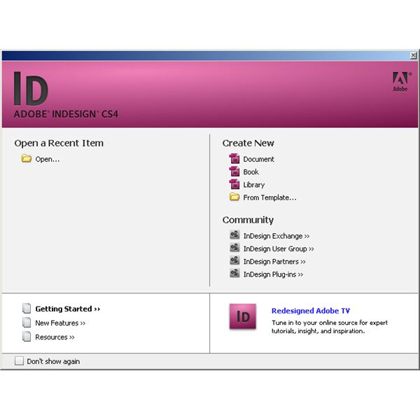 Indesign: Opening View
