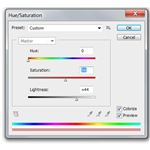 Editing the color of the duotone image with the Hue and Saturation slider