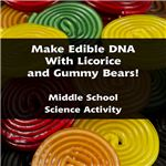 Create edible DNA with licorice and gummy bears - make sure to bring extra candy in case someone starts snacking during the middle of the project!