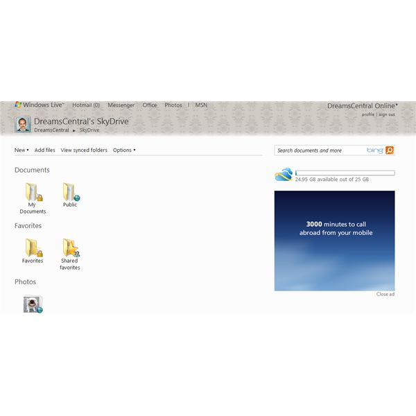 Fig 1 - Windows Skydrive Tutorial - SkyDrive Main Page