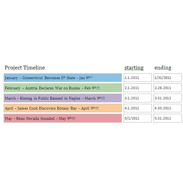 Project Timeline MS Word