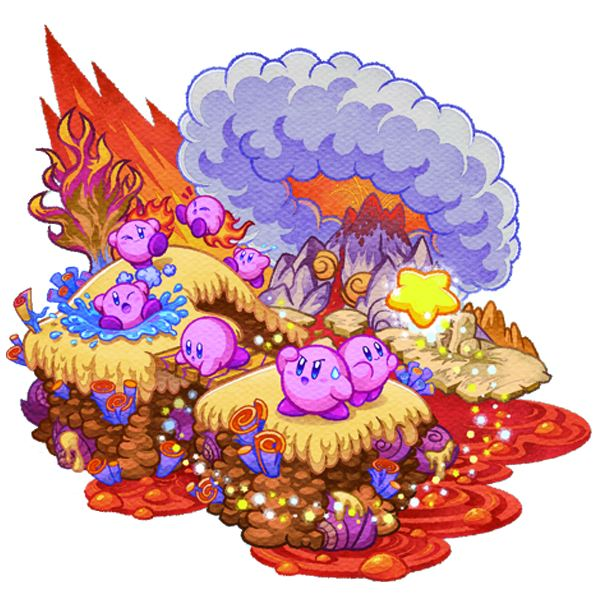 Kirby at a volcano