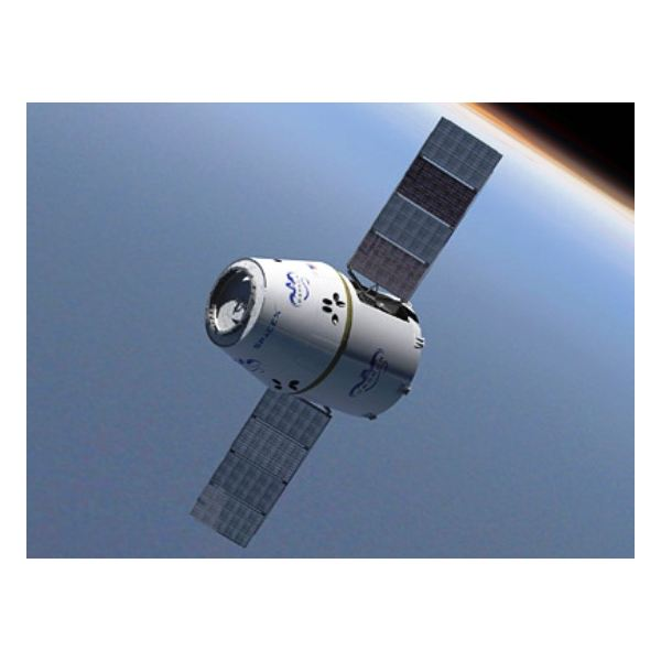 Dragon with solar panels deployed