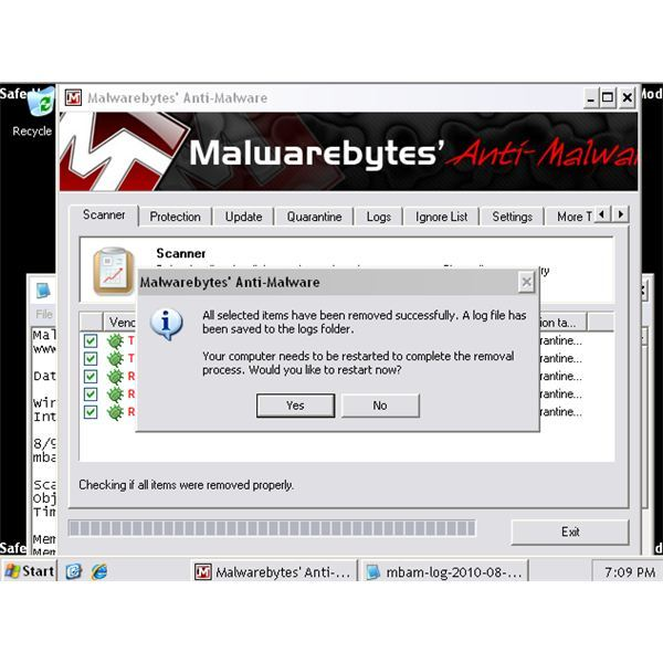 Removed Malware in Safe Mode using MBAM