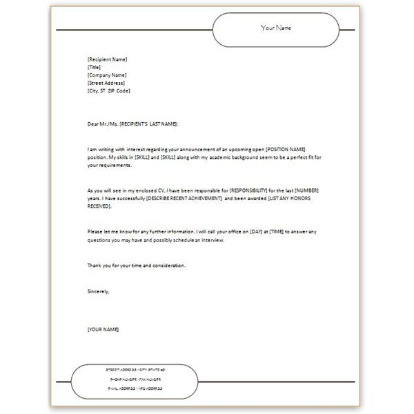 CV Cover With Letterhead  Cover Letter Template Microsoft Word