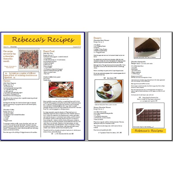 Tips For Creating A Recipe Newsletter Or Cooking Pamphlet With Free - Writing a cookbook template