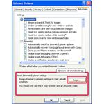 Fig 1 - Internet Settings Dialog Box with Reset Button