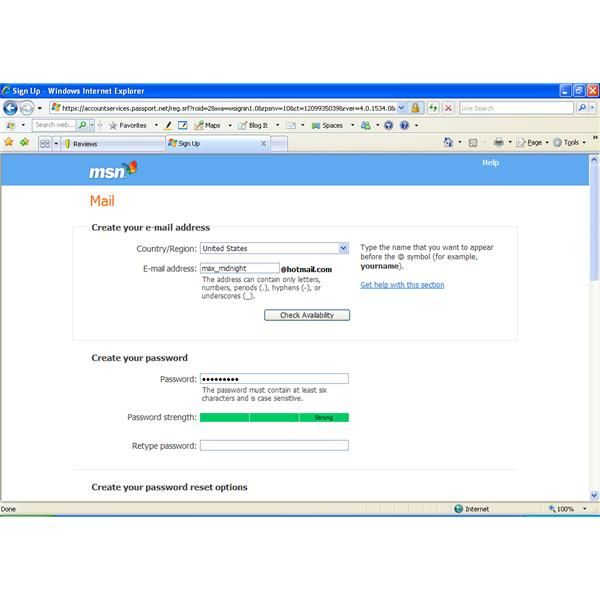 Hotmail password security