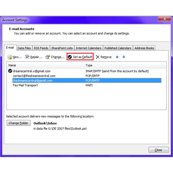 Fig 2 - How to Change the Default E-mail in Microsoft Outlook