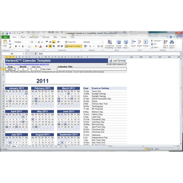 Find And Use A Free Microsoft Excel 2010 Yearly Calendar