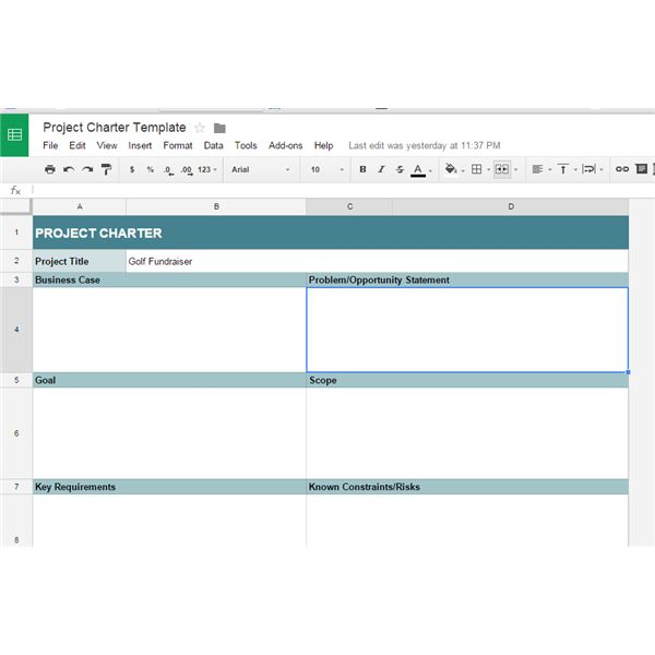Great Google Docs Project Management Templates - Project charter template pmi