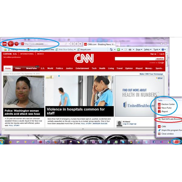 IE9 pinned CNN to my taskbar- CNN has right click menu (jump menu) in pinned icon to go to specific pages on the CNN site