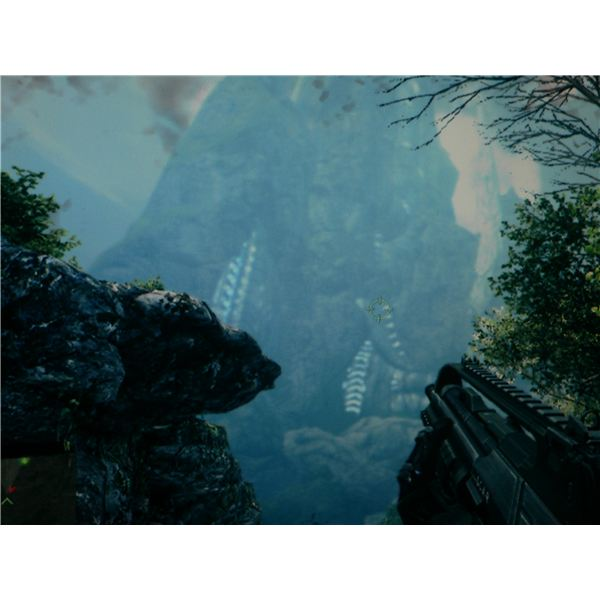Something is disturbed in the distance, while heading towards the secondary objective in the Awakening level for Crysis.
