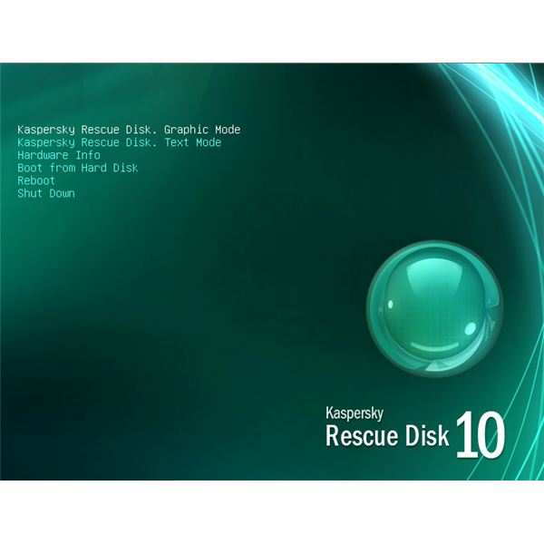 Kaspersky Rescue disc menu