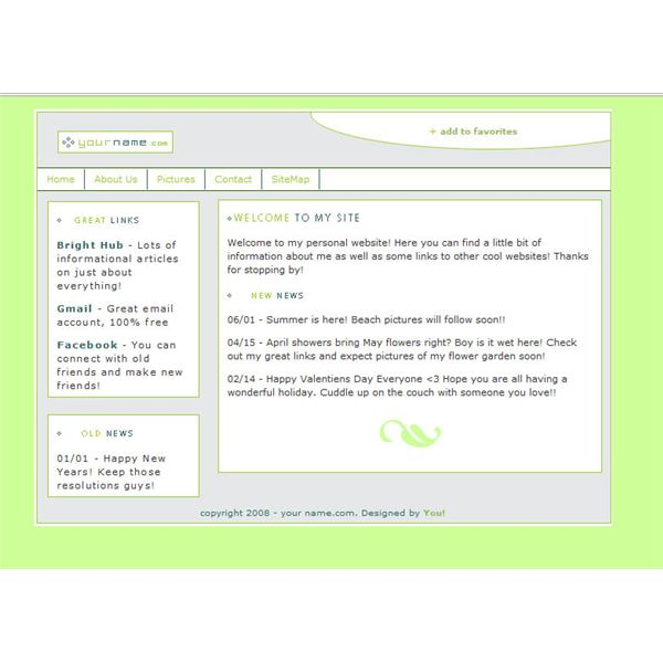 The completed web page.