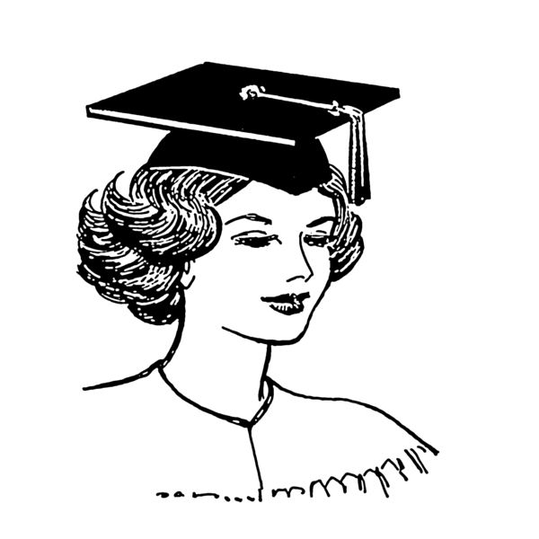 """Line art drawing of a mortarboard"