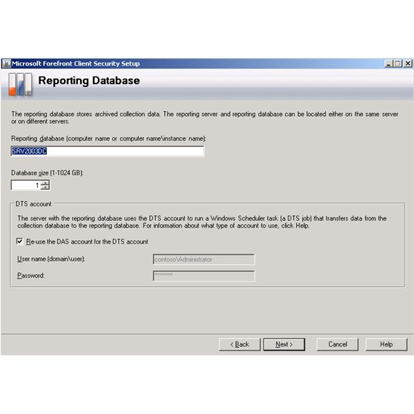 Forefront Client Security Installation Wizard - Reporting Database