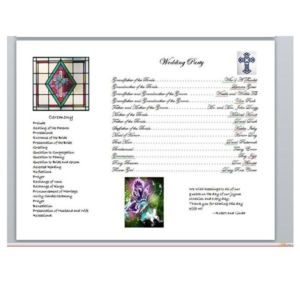 Word Wedding Program (Sample) created by Linda Richter