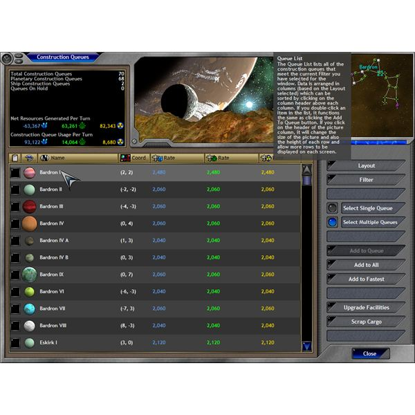 space empires interface