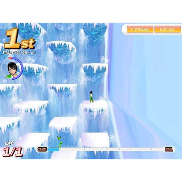 A vertical side-scrolling segment
