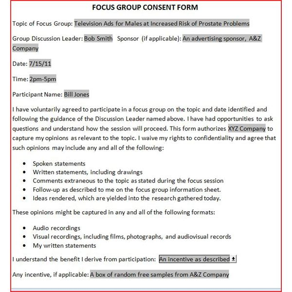 Free Downloadable Focus Group Release Form