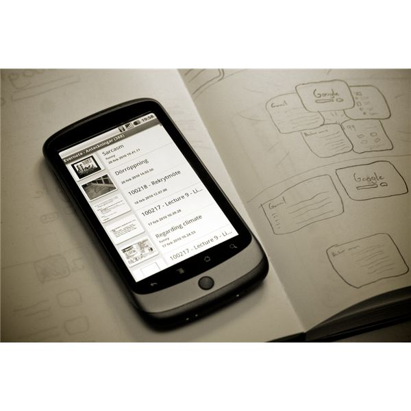 google nexus one running evernote app for android