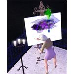 The Sims 3 painting on a canvas