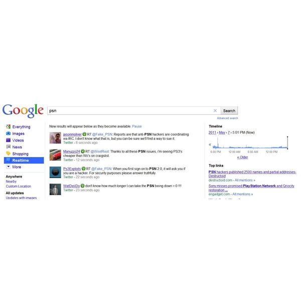 The Realtime Search Option on Google