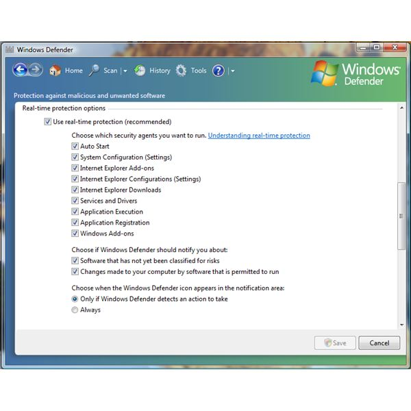 Real-time Protection Options in Windows Defender
